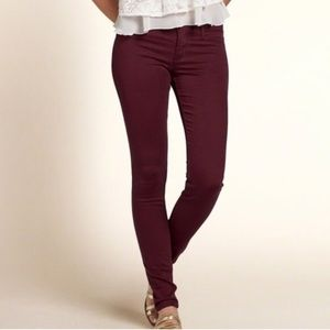 Low Rise Hollister Burgundy Jeggings | Size 25